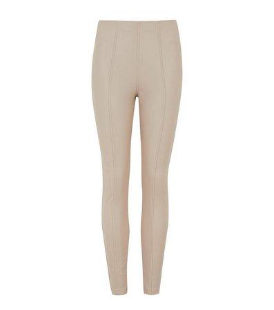 Cream Seamed Leather-Look Leggings   New Look