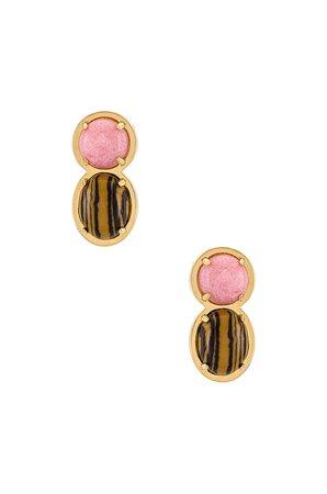 Lele Sadoughi Stone Double Drop Earrings in Tigers Eye   REVOLVE