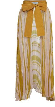 Striped Blanche Silk Midi Skirt
