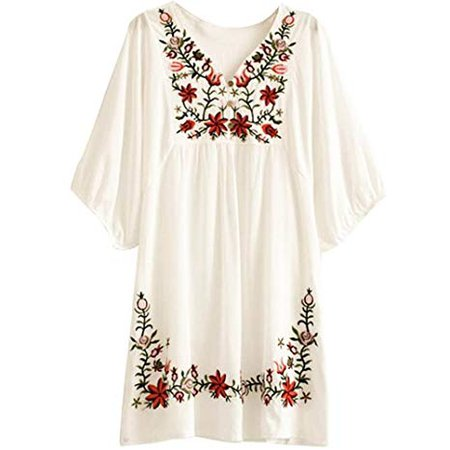 Asher White Mexican Embroidered Peasant Dressy Tops Blouses (One Size, Beige) at Amazon Women's Clothing store: