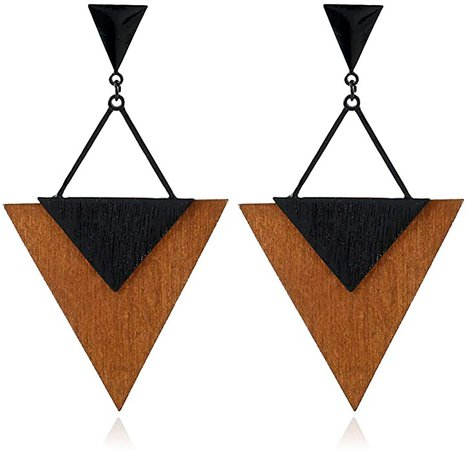 Amazon.com: ALoveSoul Fashion Wood Earrings - Big Triangle earrings for Women Beautiful Dangling Ladies Boho Jewelry, Hypoallergenic Statement Earrings: Jewelry