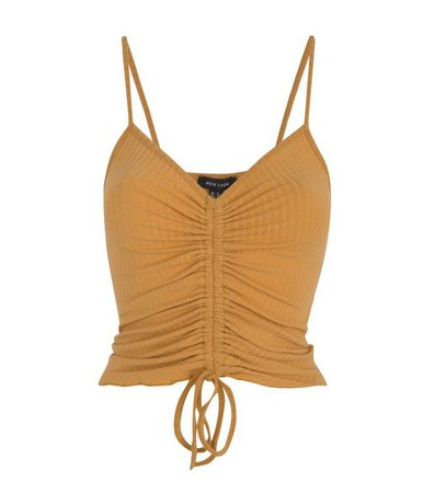 Yellow Ribbed Ruched Front Cami | New Look