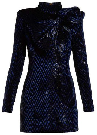 Chevron Striped Bow Embellished Mini Dress - Womens - Black Blue