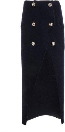 Balmain Front Slit Corduroy Skirt