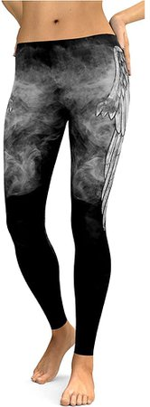 BAIXITE Women's 3D Digital Printed Stretchy Leggings Full-Length Soft Yoga Capris Slim Pencil Workout Pants (Various Prints) (X-Large (fits Like US Large), Feather) at Amazon Women's Clothing store