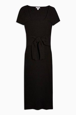 Black Square Neck Belted Midi Dress | Topshop