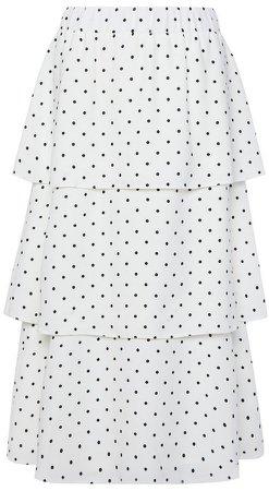 White Polka Dot Tiered Midi Skirt