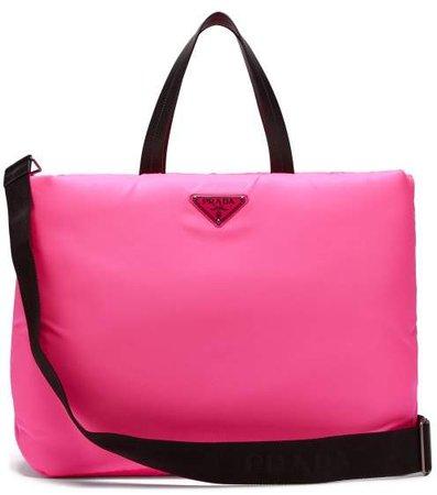 Logo Embellished Padded Nylon Tote Bag - Womens - Pink