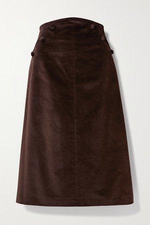 Ruth Button-detailed Cotton-velvet Midi Skirt - Brown