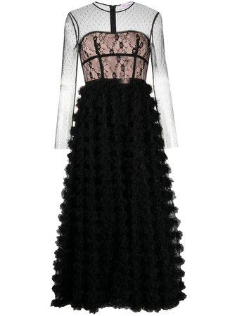 RedValentino Lace Bodice Tiered Dress - Farfetch
