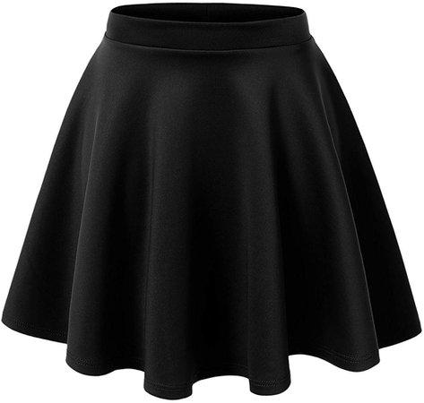 Black Stretchy Flared Skater Skirt