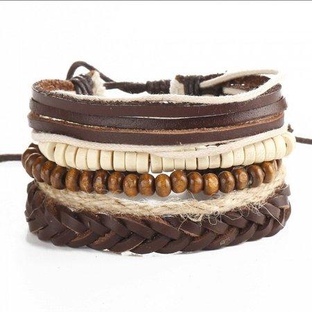 Hemp Rope Wax Wood Beads Bracelet Men Brown Leather Cord Cuff Multi-Layer Bracelets Light Brown