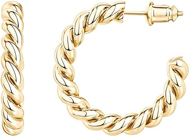 Amazon.com: PAVOI 14K Gold Plated 925 Sterling Silver Twisted Rope Round Hoop Earrings in Yellow Gold: Clothing