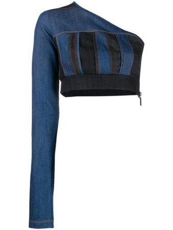 No Ka' Oi Denim One-Shoulder Top P3CTPNOKW71277A0 Blue   Farfetch