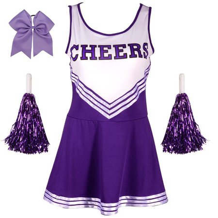 Ladies Sexy Varsity High School Cheer Girl Cheerleading Uniform Halloween Fancy Dress Costume [1540909467-128477] - $14.03