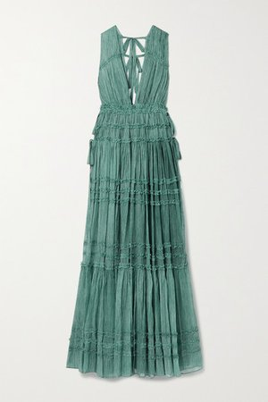 Fiona Tiered Silk-crepon Gown - Teal