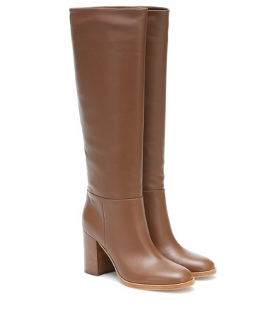Gianvito Rossi - Leather knee-high boots | Mytheresa