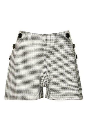 Mini Check Mock Button Shorts | Boohoo UK
