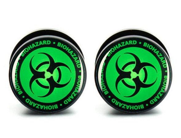 Pair Green Biohazard Screw Fit Acrylic Plugs Sizes 6mm to 25mm | Etsy