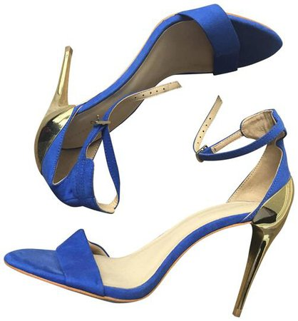 Zara Blue High Heeled Sandals with Gold Heels Pumps Size US 7.5 Regular (M, B) - Tradesy