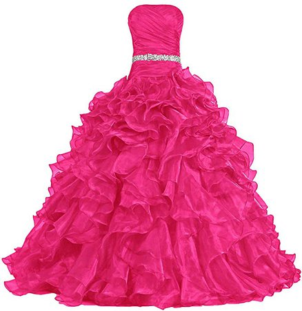 Amazon.com: ANTS Women's Pretty Ball Gown Quinceanera Dress Ruffle Prom Dresses: Clothing
