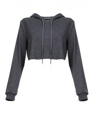Dark Gray Cropped Sweatshirt