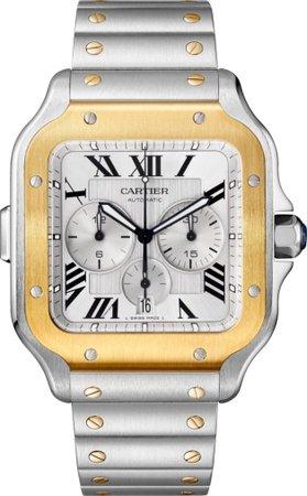 CRW2SA0008 - Santos de Cartier Chronograph watch - XL model, chronograph, gold and steel, two interchangeable bracelets - Cartier