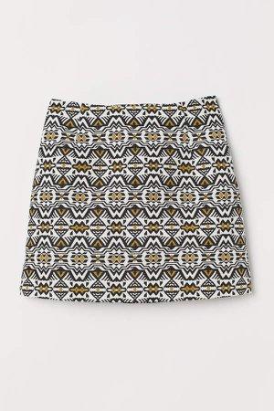 Jacquard-weave Skirt - Yellow