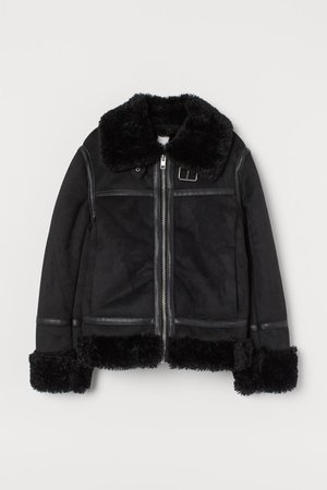 Faux Shearling-lined Jacket - Black - Ladies | H&M US
