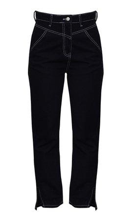 Black White Contrast Stitch Split Hem Mom Jeans | PrettyLittleThing USA