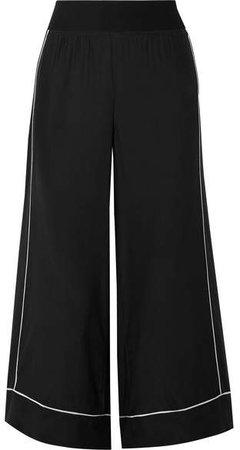 Cropped Silk-charmeuse Wide-leg Pants - Black
