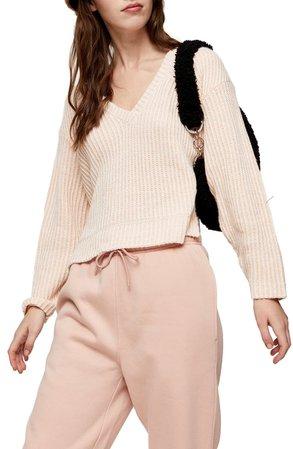 Topshop V-Neck Ribbed Sweater | Nordstrom
