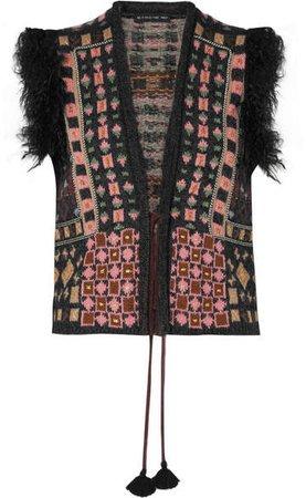 Faux Fur-trimmed Jacquard-knit Vest - Black