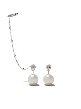 Shop Yoko London 18kt white gold Novus South Sea pearl and diamond earrings with Express Delivery - FARFETCH