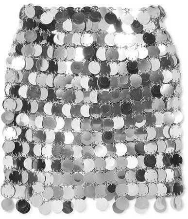 Sequined Mini Skirt - Silver