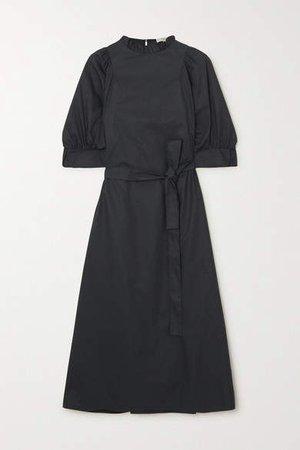 Belted Cotton-poplin Midi Dress - Black