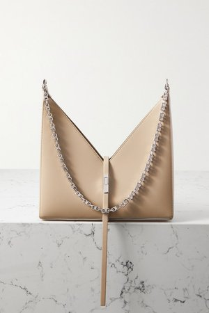 Cut Out Small Leather Shoulder Bag - Beige