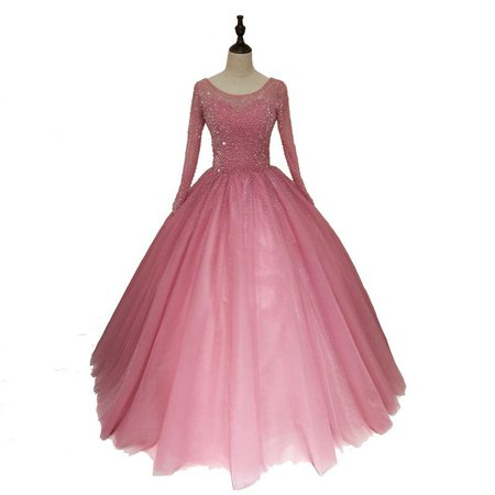 Ball Gown Long Prom Dresses With Long Sleeve Beading Pink Evening Gowns WHK005 – AmyProm