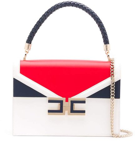 colour-block braided handle tote