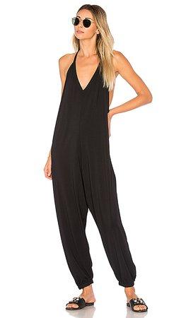 Bobi Draped Jumpsuit in Black   REVOLVE