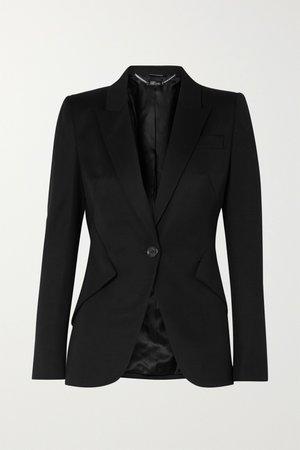 Black Grain de poudre wool blazer | Alexander McQueen | NET-A-PORTER