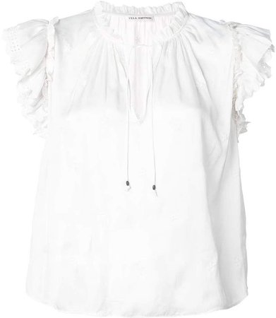 broderie anglaise cap sleeve blouse