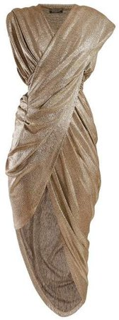 Ruched Lame Asymmetric Dress - Womens - Gold
