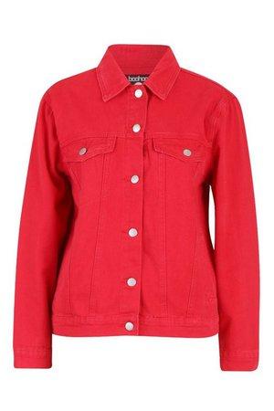 Red Oversized Denim Jacket   Boohoo UK