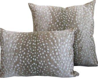 Long Lumbar Antelope pillow cover Fawn linen deer pillow | Etsy