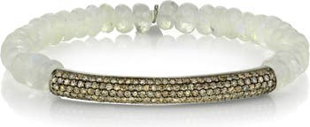 Sheryl Lowe Pavé Diamond Bar Beaded Bracelet   Nordstrom