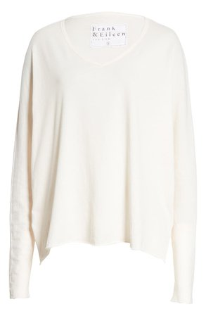 Frank & Eileen Long Sleeve Deep V-Neck T-Shirt ivory