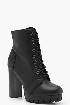 Layla Cleated Lace Up Hiker Boots