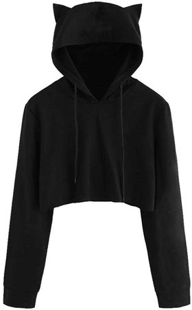 Hot New! Teen Girls Hoodie, Fashion Cute Kitty Cat Ear Sweatshirt Solid Black Short Pullover Long Sleeve Hooded Tops at Amazon Women's Clothing store