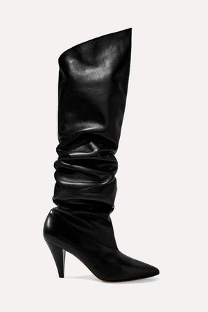 Leather Knee Boots - Black